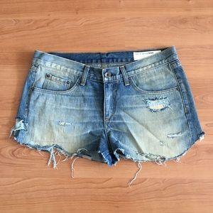 Rag & Bone Cut Off Jean Shorts Sz 28 Meas: 33